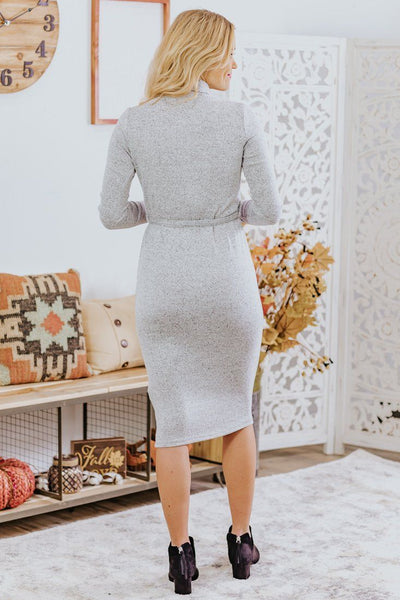 My Own Terms Mock Neck Tie Waist Long Sleeve Midi Dress in Heathered Light Grey - Filly Flair