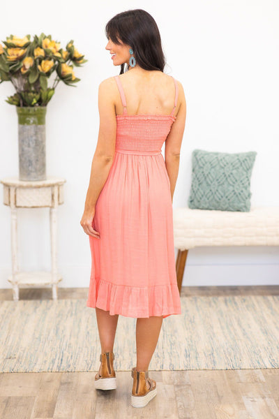 Will Never Fall Smocking Sleeveless Dress in Coral - Filly Flair