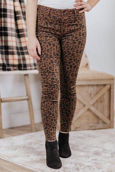 Cecily Cello Leopard High Rise Skinny Jean in Brown - Filly Flair