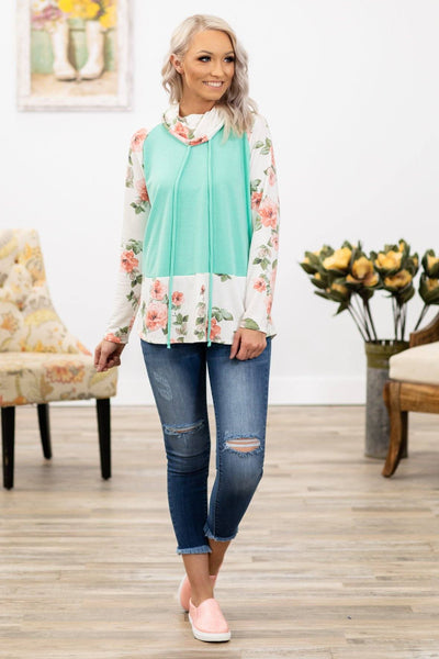 My Town Long Sleeve Floral Cowl Neck Top in Mint - Filly Flair