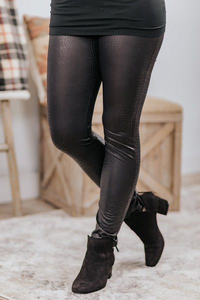 Sweet And Saucy Snakeskin Skinny Leggings in Black - Filly Flair