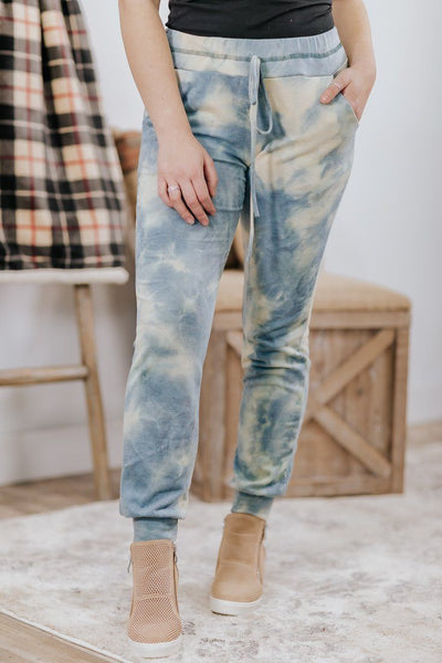 Time After Time Tie Dye Elastic Waist Sweatpants in Blue Green - Filly Flair