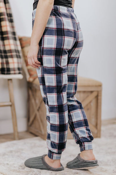 Cozy & Warm Plaid Elastic Waist Sweatpants in Navy - Filly Flair