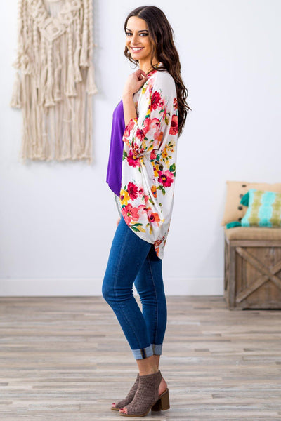 Sun In The Sky Short Sleeve Floral Dolman Kimono in White - Filly Flair