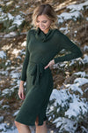 One Thing You Should Know Cowl Neck Long Sleeve Dress in Olive - Filly Flair