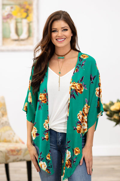Diamonds in the Sky Short Sleeve Floral Kimono in Emerald - Filly Flair