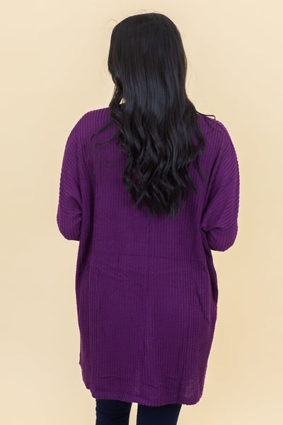 Bust a Move Waffle Knit Top in Dark Plum - Filly Flair