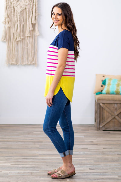 There With You Striped Color Block Top In Navy Fuchsia Yellow - Filly Flair