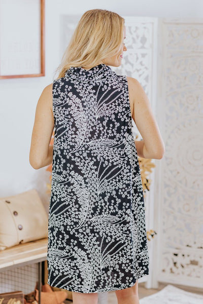 In The Secret Garden Printed Sleeveless Cowl Neck Short Dress in Black - Filly Flair