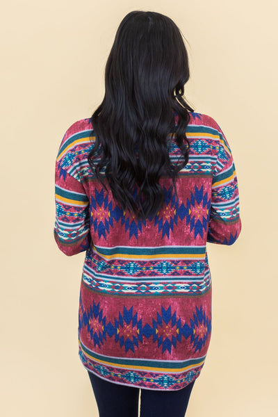 Patio Parties Long Sleeve Top In Aztec Print - Filly Flair