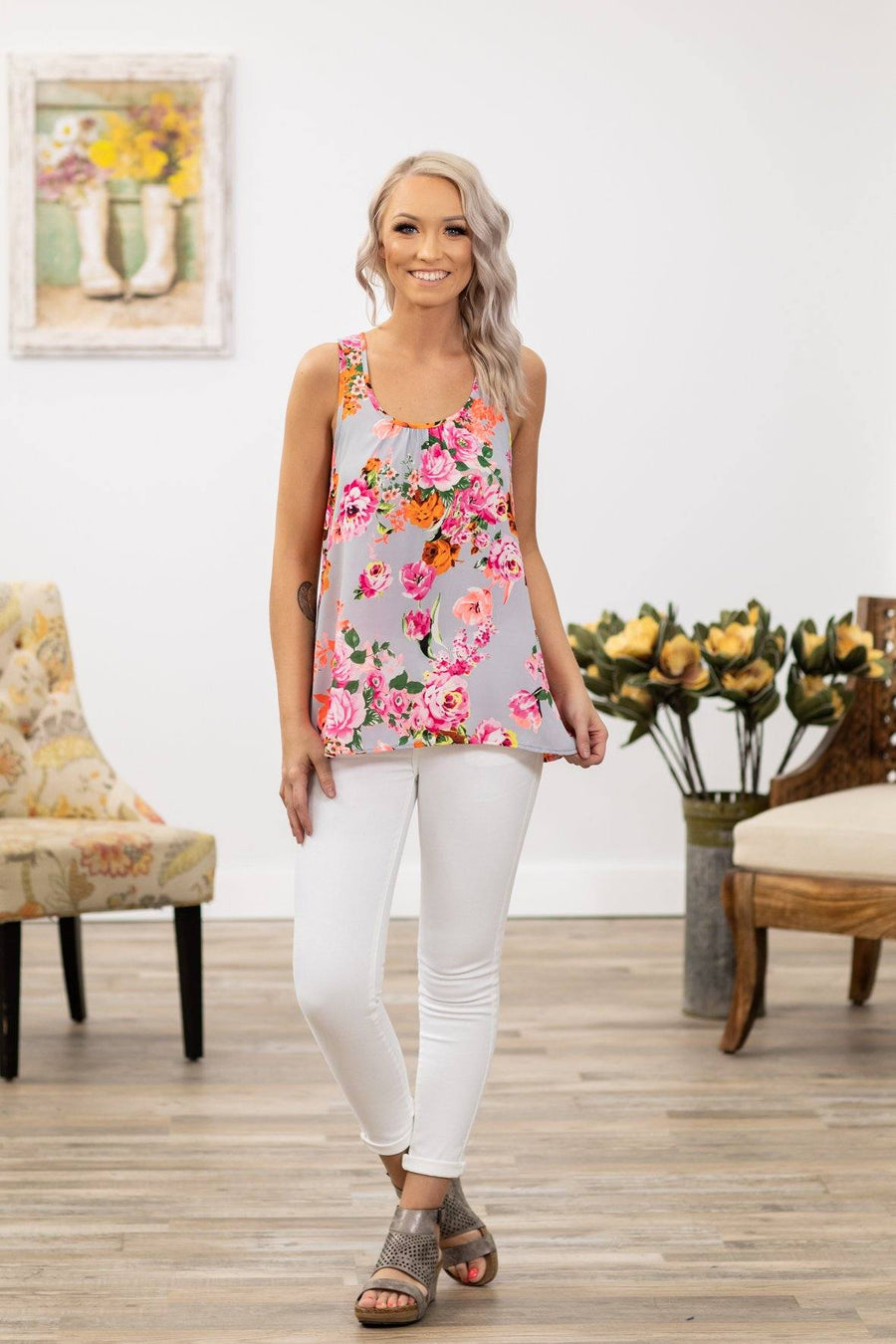 2300f369ca4288 Belong With Me Floral Neon Tank Top in Grey