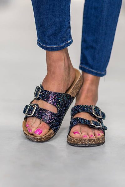 Shining Bright Double Strap Buckle Sandals in Black Glitter - Filly Flair