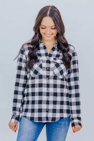 Cowboy Take Me Away Checkered Top in Black - Filly Flair
