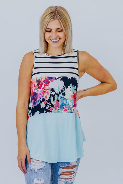 Make Me Crazy Floral Color Block Tank in Aqua - Filly Flair