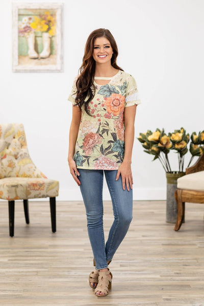 Dream a Dream Short Sleeve Vintage Floral Top in Yellow - Filly Flair