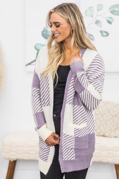 Amazing Aura's Sweater Cardigan In Lilac - Filly Flair