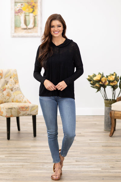 That's What I Like Long Sleeve Crochet Detail Back Hooded Top in Black - Filly Flair