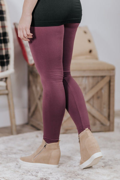 Hold Steady Fur Lined Ribbed Waist Leggings in Dusty Plum - Filly Flair