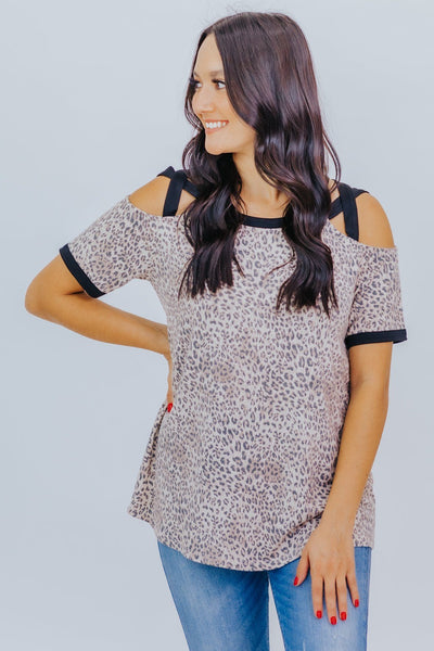 Thanks For The Memories Animal Print Cold Shoulder Top in Taupe - Filly Flair