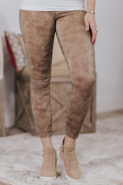 Crackle Effected Printed Leggings in Brown - Filly Flair