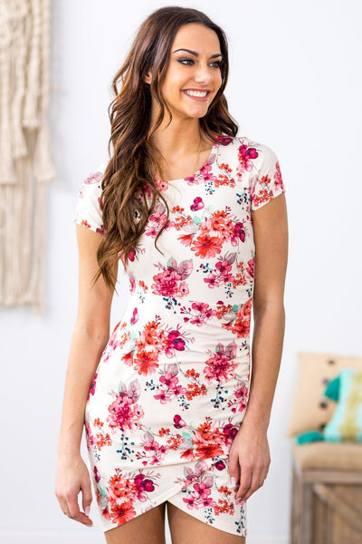 Something New Short Sleeve Ruched Side Floral Dress in Ivory - Filly Flair