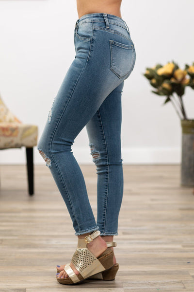 Kendra Kan Can Medium Wash Distressed Skinny Jeans - Filly Flair