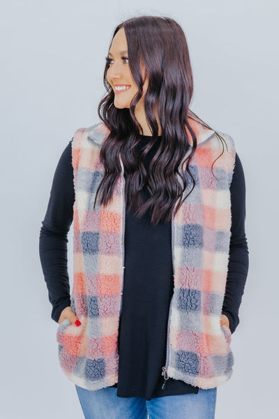 Warmer Than The Rest Plaid Sherpa Vest in Pink - Filly Flair