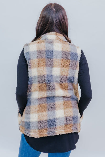 Warmer Than The Rest Plaid Sherpa Vest in Oatmeal - Filly Flair
