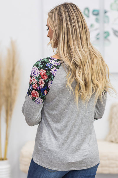 Do Your Thing Floral Print Long Sleeve Top in Heather Grey - Filly Flair