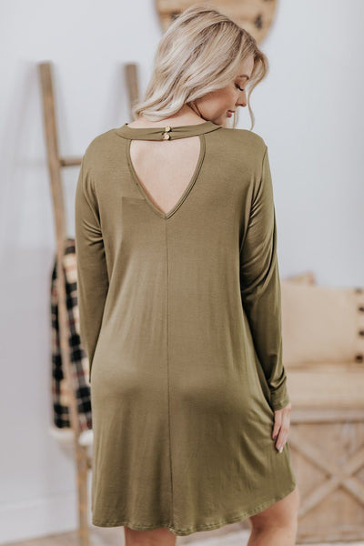 Best Place To Start Keyhole Detail Long Sleeve Short Dress in Olive - Filly Flair
