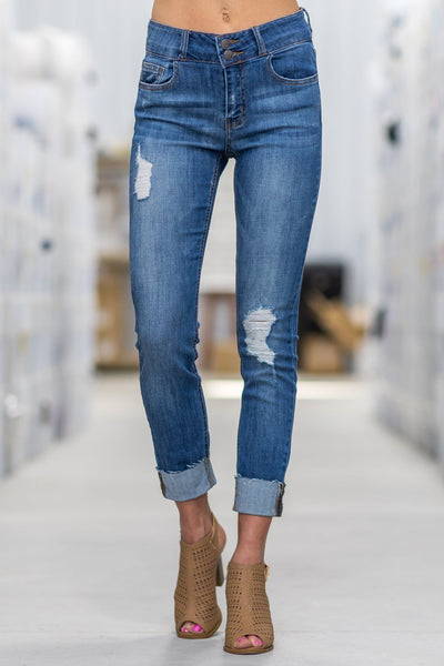 Cora Cello Mid Rise Medium Wash Distressed Rolled Hem Crop Skinny Jeans - Filly Flair