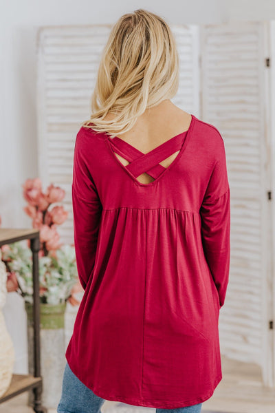 *DEAL*  No More Chances Long Sleeve Criss Cross Back Top in Burgundy - Filly Flair