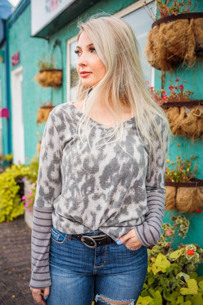 Laura's Favorite Animal Print Top in Grey - Filly Flair