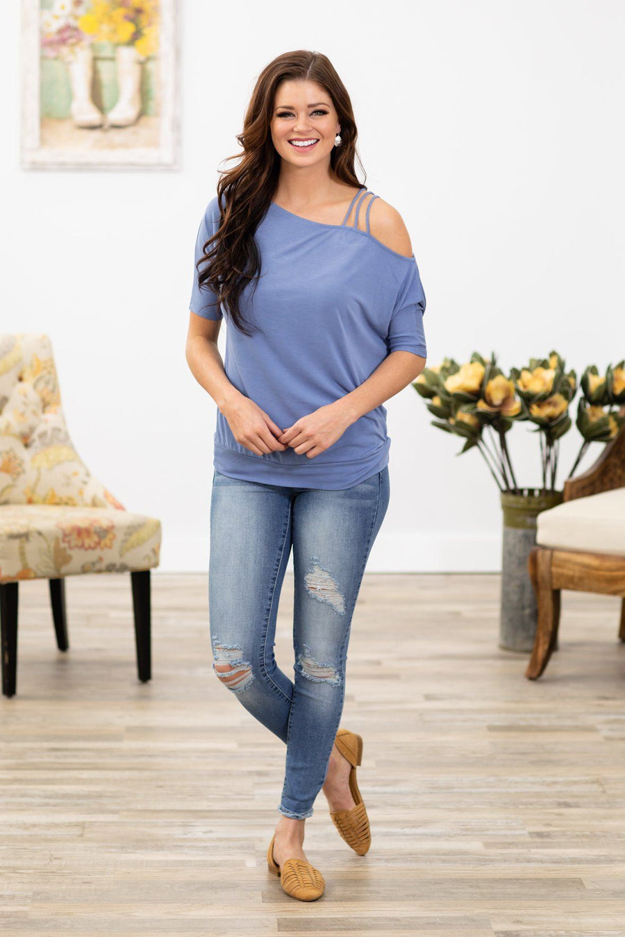 ec64b34eb1302 Get You Out of My Head Short Sleeve Strappy Cold Shoulder Top in Periwinkle