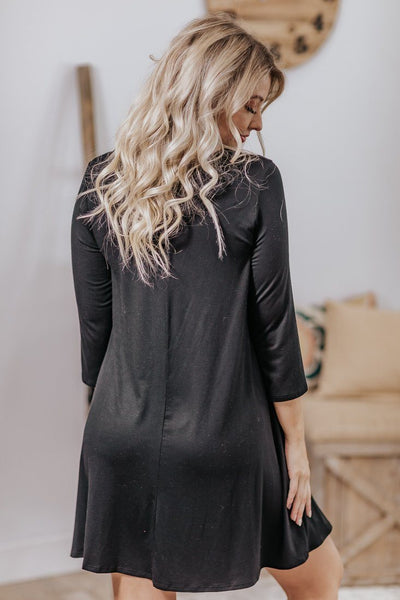 We Don't Mess Around Criss Cross Neckline 3/4 Sleeve Dress in Black - Filly Flair