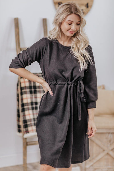 Crossing The Threshold Tie Wasit 3/4 Sleeve Dress in Black - Filly Flair