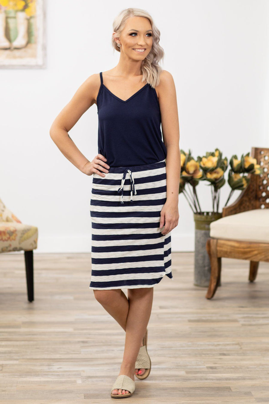 3cc8dee79b06 Sucker For You Striped Midi Tie Skirt in Navy Ivory