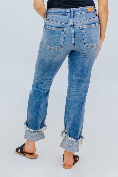 Jake Judy Blue Cuffed Destroyed Relaxed Fit Cropped Jeans - Filly Flair
