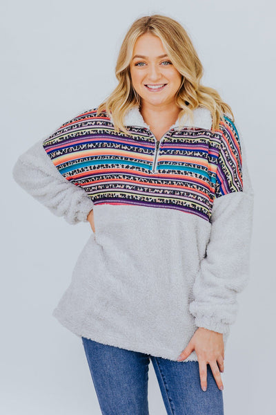 DEAL Life Is A Beautiful Ride Leopard Aztec Long Sleeve Sherpa Pockets in Ivory - Filly Flair