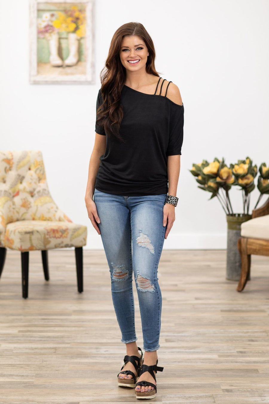 b6b7a0aeb5835 Get You Out of My Head Short Sleeve Strappy Cold Shoulder Top in Black