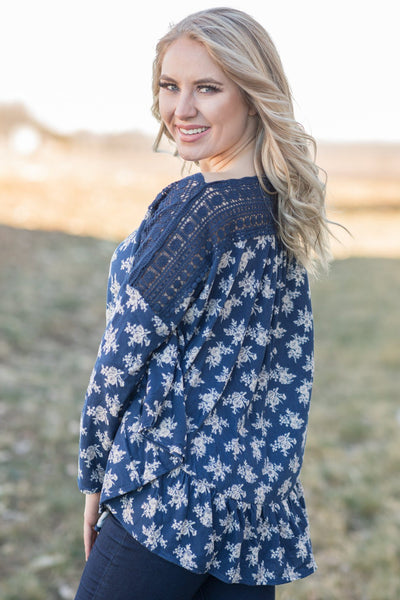 It's Magic Ruffled Floral Dolman With Lace Shoulders In Navy - Filly Flair
