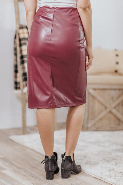 Today Be You Faux Leather Button Skirt in Burgundy - Filly Flair