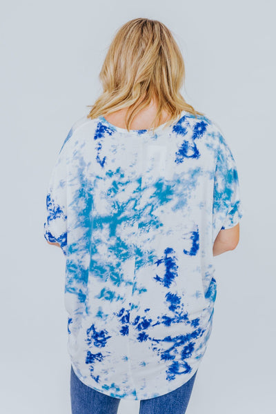You Will Always Be Enough Tie Dye Short Sleeve Dolman Top in Blue - Filly Flair
