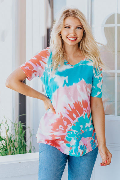 Bursting With Joy Tie Dye Top in Sky Blue - Filly Flair