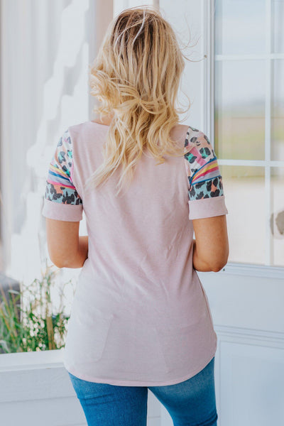 We Won't Stop Short Sleeve Printed Sleeve's Top in Pink - Filly Flair