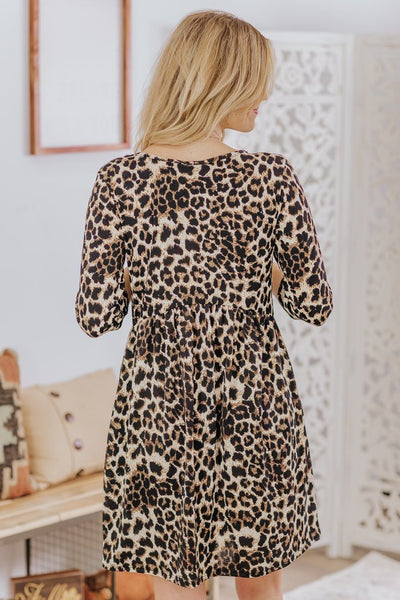 Happening Today Leopard High Waist Ruffle Long Sleeve Dress in Leopard Brown - Filly Flair