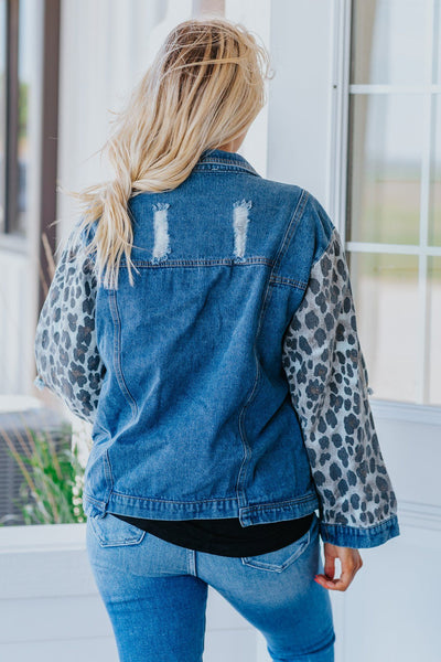 Catching The Breeze Leopard Print Distressed Denim Button Down Jean Jacket - Filly Flair