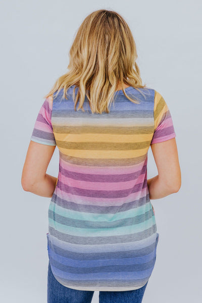 Between The Lines Striped Tee In Navy - Filly Flair