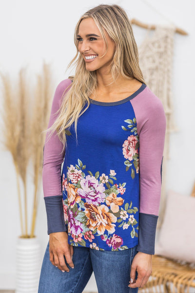 Counting My Blessings Floral Top in Indigo - Filly Flair