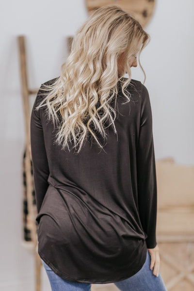 She Will Stand Out Long Sleeve Baby Doll Top in Black - Filly Flair
